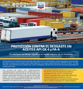 PROTECCIÓN CONTRA EL DESGASTE EN ACEITES API CK-4 y FA-4: